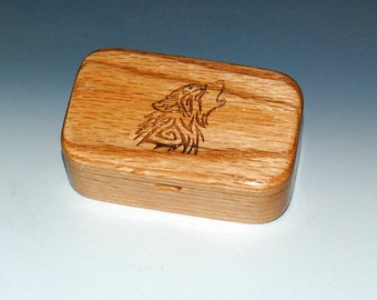 Engraved Celtic Wolf, Tribal Wolf, Howling Wolf Red Oak Wooden Trinket Box -Wooden Box, Small Wood Box, Business Card Box, Wood Box, Boxes