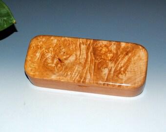 Big Leaf Maple Burl on Cherry Handmade Wooden Pen Box - Small Wood Box, Gift Box, Stash Box, Jewelry Box - Small Wooden Box by BurlWoodBox