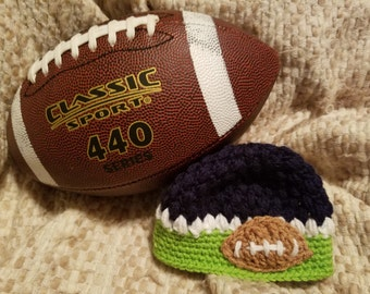 Crochet Football Hat (3-6 Months - Seattle Seawhawks)