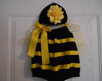 Bumble Bee Costume infant through 4 years with wings flower and headband or hat