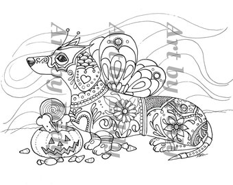daschunds coloring pages   Art of Dachshund Single Coloring Page