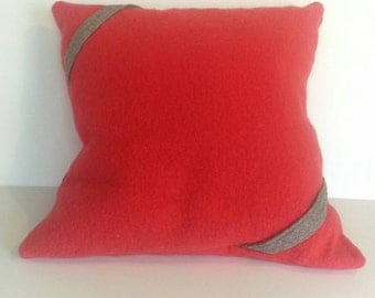 """Wool Pillow Cover, 20""""X20"""", Light Red"""