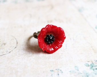 Poppy Flower Ring. red poppy, floral ring, gift for her