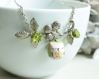 Sleepy Owl and Berry Branch  Necklace. lemon green porcelain owl with antique silver berry branch