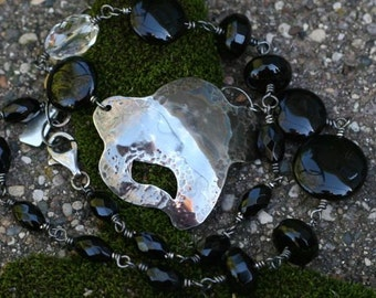 Hammered Sterling Silver Pendant with Black Onyx Necklace One of a Kind