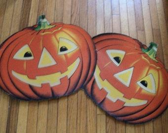 2 Large Vintage Paper Halloween Pumpkins. Diecut Decorations.