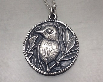 Little Bird Perched Pendant Sterling Silver
