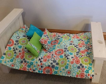 Comforter / Bedspread and Pillows bedding set for American Girl or other 18 inch doll