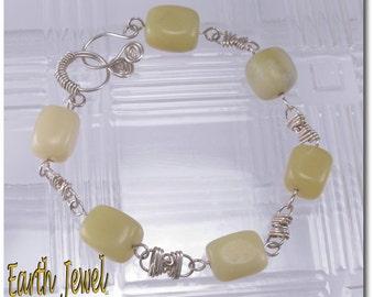 Olivine Knotted Wire Work Bracelet