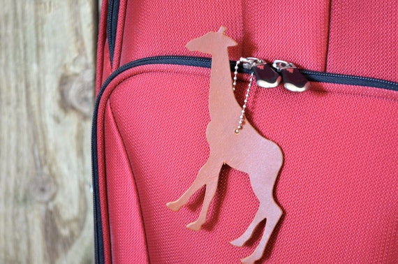 Giraffe Shaped Leather Luggage Tag, brown or black