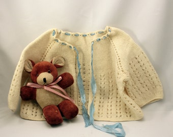 Vintage Baby Boy Sweater Infant Cardigan Hand Knit Cream Blue Ribbon 1940s 50s