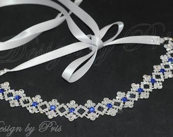 HPH1-R Bridal Headpiece.Wedding Accessories.Bridal Rhinestone Ribbon Headband.Bridal Rhinestone Headband Bridal Blue Rhinestone Headband