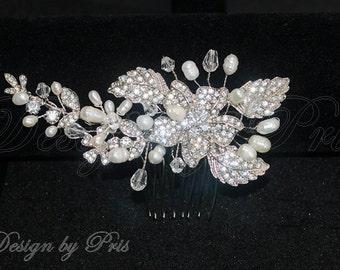 SALE Bridal Accessories Wedding Hair Accessories Bridal Combs Bridal Rhinestones Crystals Fresh water Pearls Combs