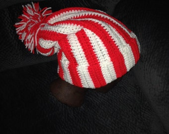 Holiday Slouch Hat, Festive Colors, Red and White, Stocking Cap, Crocheted, Rolled Brim, Pom Pom
