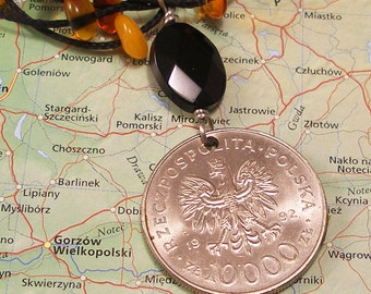 Poland, Vintage Coin Necklace -- Gold of the North -- Amber Road - Baltic Sea - Archeology - World Trade - One of a Kind