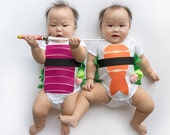 Funny Baby Costume, Sushi Bodysuit, Baby Costume, Tuna and Shrimp Sushi Costume, Funny Baby Costume, Baby Geekery, Food Costume, Sushi Onsie