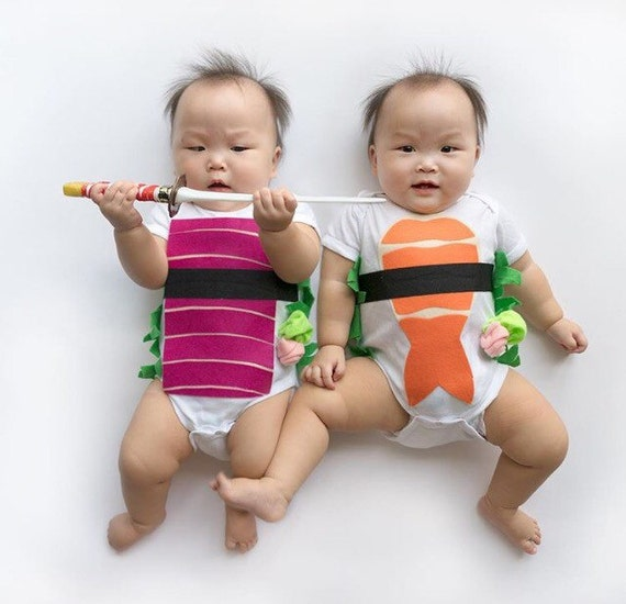 Baby Costume, Sushi Bodysuit, Funny Baby Costume, Tuna and Shrimp Sushi Costume, Funny Baby Costume, Baby Geekery, Food Costume, Sushi Onsie
