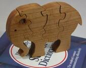 Child's Elephant Puzzle - Kid's Decor - Animal Puzzle - Wooden Elephant