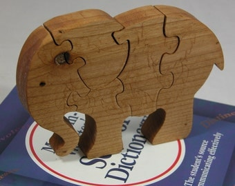 Child's Elephant Puzzle - Kid's Decor - Animal Puzzle - Wooden Elephant