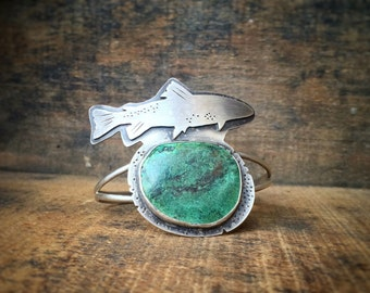 Alaska Salmon Love Cuff Sterling Silver and Turquoise