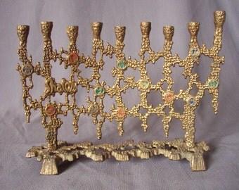 menorah Chen Holon 60s /vintage solid brass menorah 60s / made in Israel /Free fast Shipping!!