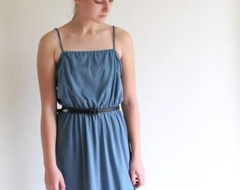 ON SALE disco dress - 70s steel blue dress