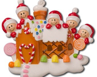 Personalized Gingerbread Christmas Family Ornaments- Family of Five- couple, grandkids,friends co-workers