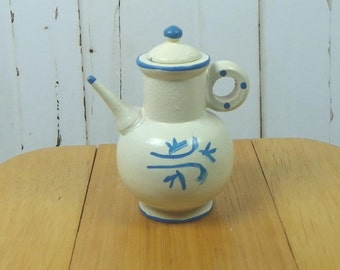 MINIATURE COFFEE POT with Lid, White Painted Wood with Blue Accents, Vintage Play Scale Dollhouse
