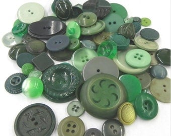 GREEN BUTTON ASSORTMENT, Lot of 75, Mainly Plastic, Shanked, Sew Thrus, Vintage Sewing, Embellishment Supply