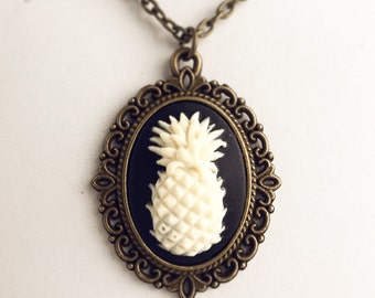 Pineapple Cameo Necklace / Pick your Length / Pendant Tropical Fruit Lover Hawaiian Hawaii Wedding Bridesmaids Favors Gift Steampunk Costume