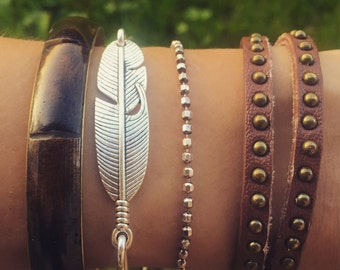 Feather Bangle Bracelet / Antique Silver Boho Bohemian Stacking Jewelry Lover Gift Gypsy Wedding Bridesmaids Free Spirit Wanderer Festival