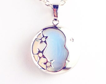 Opalite Moon Pendant Necklace / Pick your Length / Stars Lover Gift Boho White Opal Crescent Phase Wedding Bride Renaissance Faire Costume