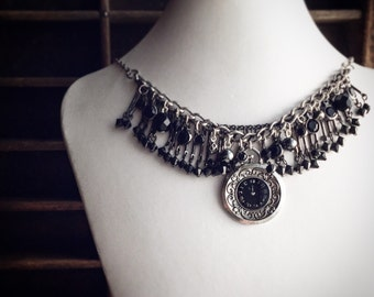 Beaded Black and Antique Silver Necklace / Pocket Watch Edwardian Victorian Style / Steampunk Pirate Costume Cosplay / Pick your Length