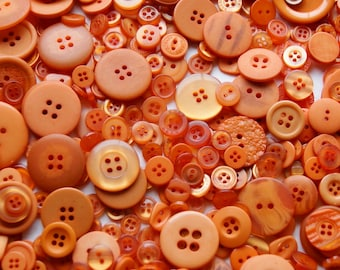 50 Pumpkin Orange, Burnt Orange Buttons, Assorted sizes, Crafting Buttons (1536)