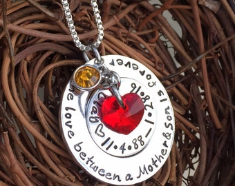 Personalized Hand Stamped The Love Between A Mother & Son