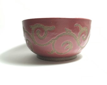 Raspberry Red Stoneware Ice Cream Bowl - Handmade Ceramic Bowl - Rustic Red Bowl - Stoneware Bowl - Red Bowl - Valentine's Day - Cereal Bowl
