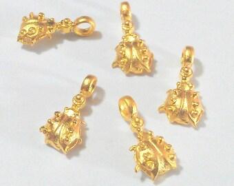 4 Pcs  Ladybug Charms, Gold Plated Brass G32