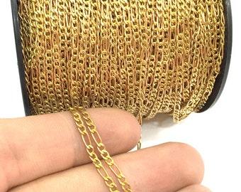 Raw Brass Soldered Chain 3.3 ft.-1 meter  (5x2 mm - 4x2mm.)  G4008
