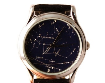 25 OFF SALE Vintage Constellation Watch Leather Watch Ladies Watch Mens Watch Gift Idea Custom Watch Fashion Accessory Northern Hemisphere A