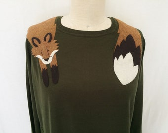 Wrapped Fox Sweater in Olive