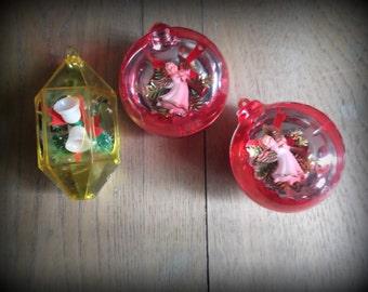 Vintage Diorama Ornaments, Jewelbrite Plastic Christmas Ornaments Mid Century Christmas Decor