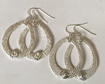 silver hoop earrings, stingray jewelry, silver shell jewelry, beach jewelry, lotus flowers, yoga practice