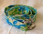 New Handmade Belt of Lilly Pulitzer Fabric - 48 inches Mimosa the Everglades Yellow gator print - for male or female