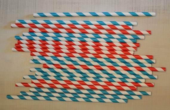 30 Paper Straws.... Red and and Blue Striped Paper Straws Perfect for Cat in the Hat Dr Seuss Themed Party