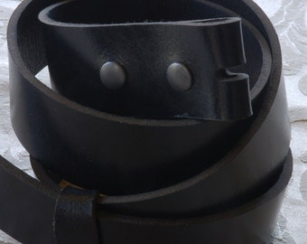 "Black Full Grain Leather Belt 1-1/2"" Wide for Jeans & Chinos Interchangeable Custom Cut to your waist size Quality Glossy Belt with snaps"