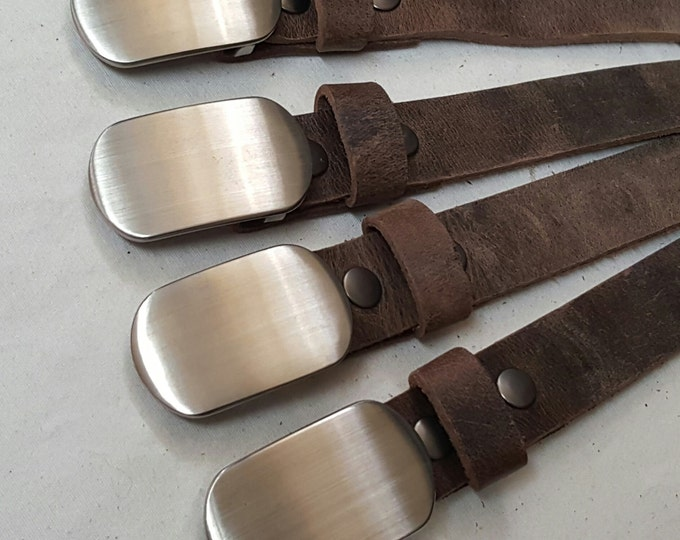 """Groomsman Gift SET Hypoallergenic Brushed Stainless Buckle and 1.5"""" Custom Cut Leather Belt Wedding Accessories Hand Forged Stainless Steel"""