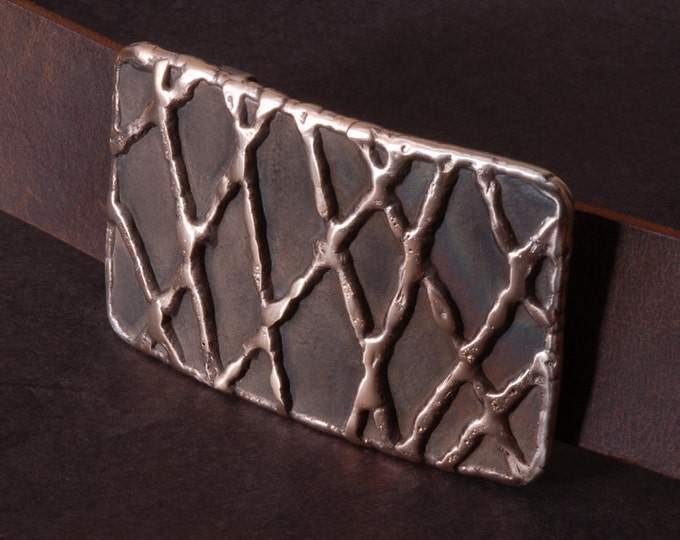 """Fish Net Bronze Belt Buckle Signed Original Hypoallergenic Accessories Stainless Steel fits 1-1/2"""" Full Grain Buffalo Leather Belt for Jeans"""