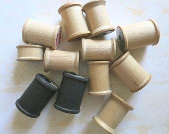 Twelve Empty Wooden Spools