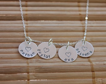 Family Necklace, Hand Stamped Four Charm Name Necklace in Sterling Silver
