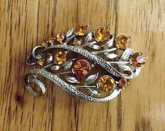 Vintage / brooch / pin / Lisner signed Amber Rhinestone pin